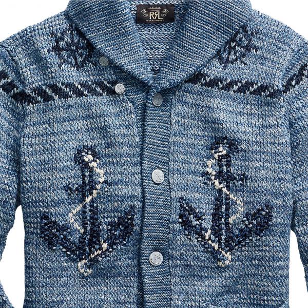 RRL by Ralph Lauren Hand Knit Shawl Cardigan Blue Indigo