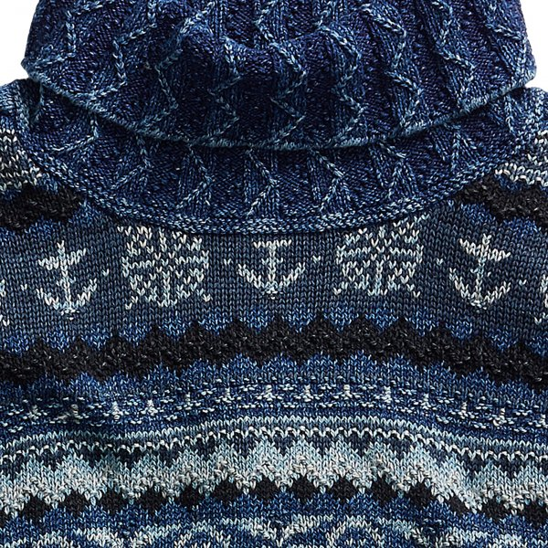 RRL by Ralph Lauren Mock Neck Fair Isle Knit Blue Indigo