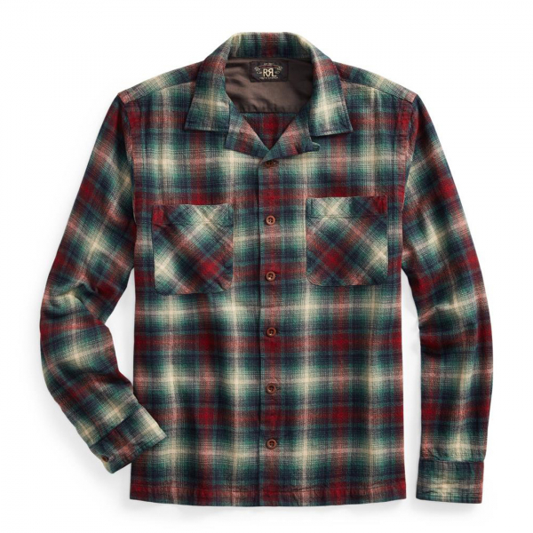 RRL by Ralph Lauren Towns Camp Brushed Plainweave Tartan Shirt Red / Teal