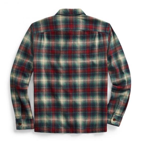 RRL by Ralph Lauren Towns Camp Brushed Plainweave Tartan Shirt Red / Teal