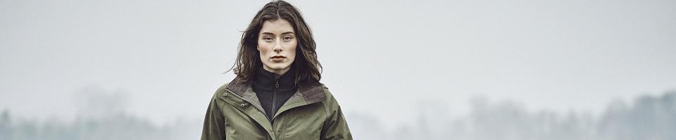Woman Wearing Green Waterproof Coat, Jacket