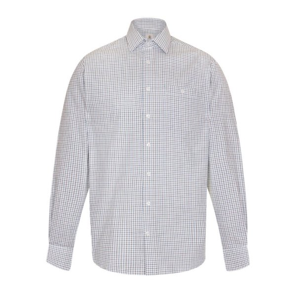 Bernard Weatherill Button Down Collar Pocket Shirt Burgundy / Navy / White Check