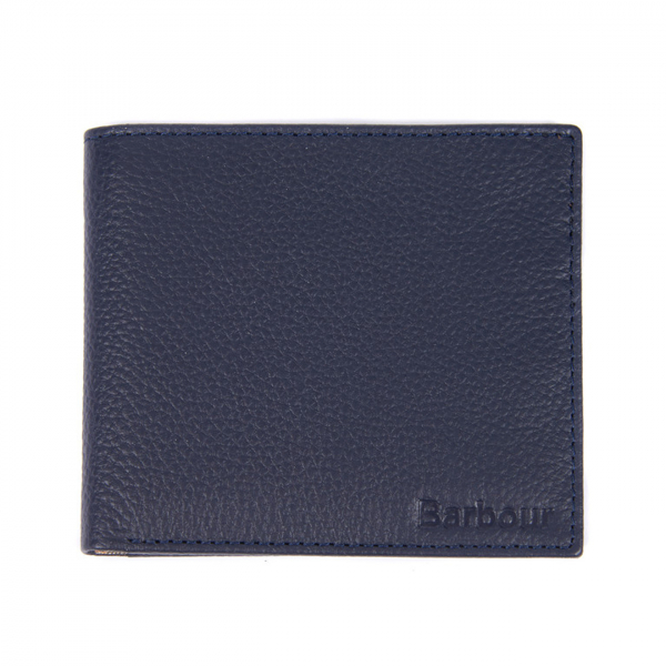 Barbour Amble Leather Billfold Wallet Navy / Classic Tartan