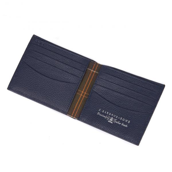 Barbour Amble Leather Billfold Wallet Navy / Classic Tartan