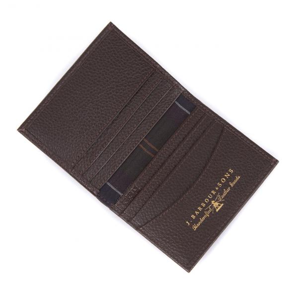 Barbour Amble Small Leather Billfold Wallet Dark Brown / Classic Tartan