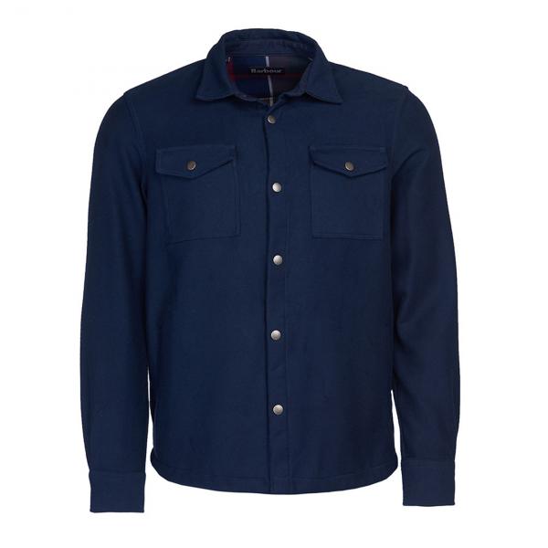 Barbour Carrbridge Overshirt L/S Shirt Navy Front With Snap Button Closure