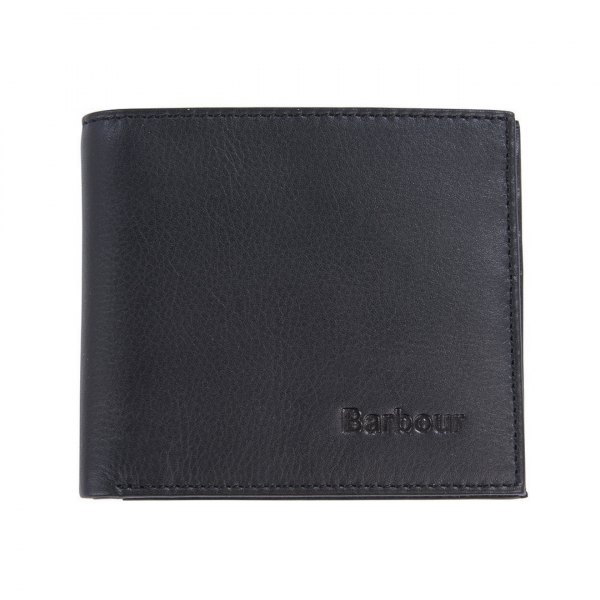 Barbour Colwell Leather Billfold Wallet Black / Seaweed Tartan