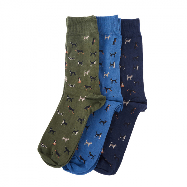 Barbour Dog Sock Gift Box Of Three Selection 1