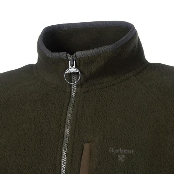 Barbour Essential Fleece Zip Through Forest Zip to Collar