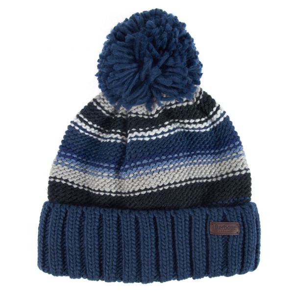 Barbour Harrow Stripe Beanie Hat Grey Blue