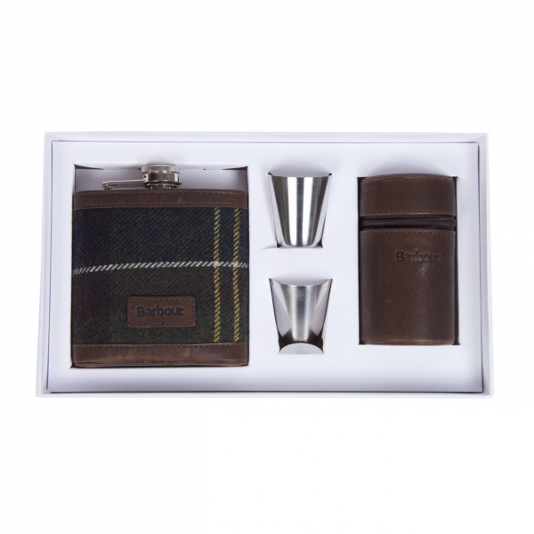 Barbour Hip Flask And Cups Classic Tartan