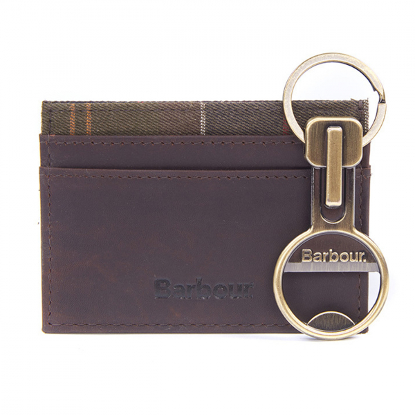 Barbour Keyring And Cardholder Gift Set Antique Brass / Brown