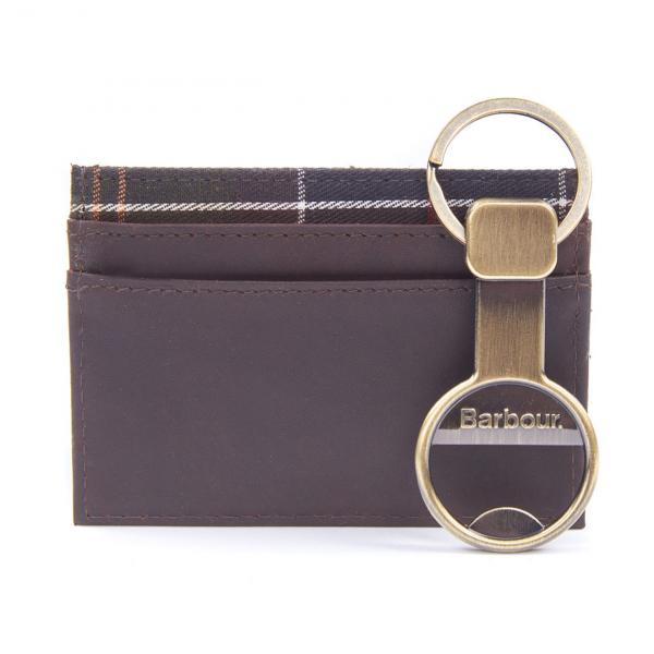 Barbour Keyring And Cardholder Gift Set Antique Brass / Brown