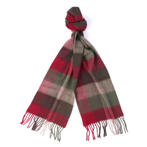 Barbour Large Tattersall Scarf Dark Green
