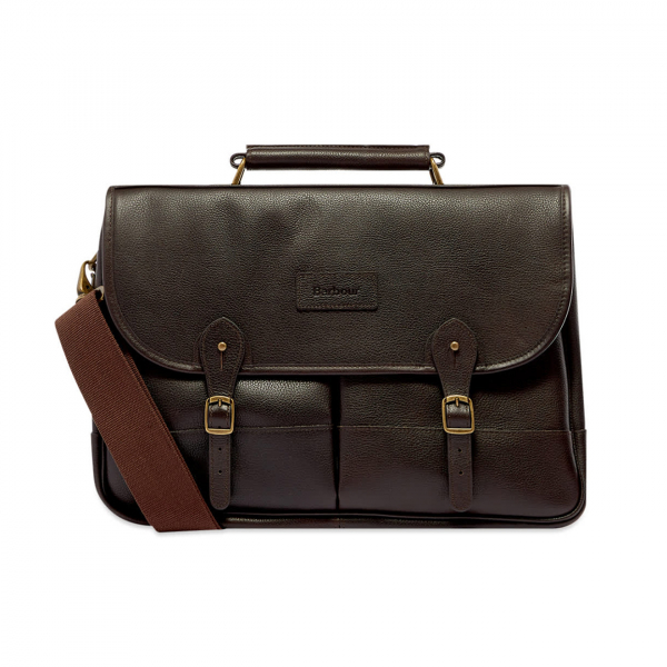 Barbour Leather Briefcase Chocolate
