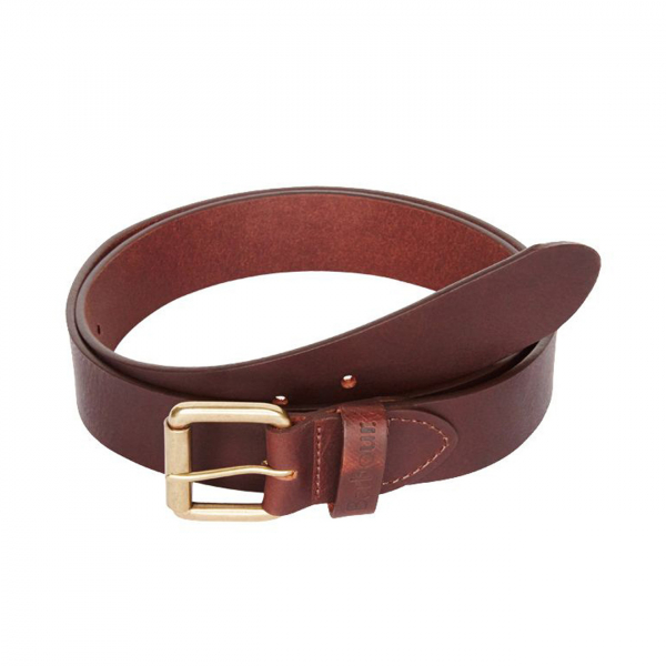 Barbour Matt Leather Belt Brown