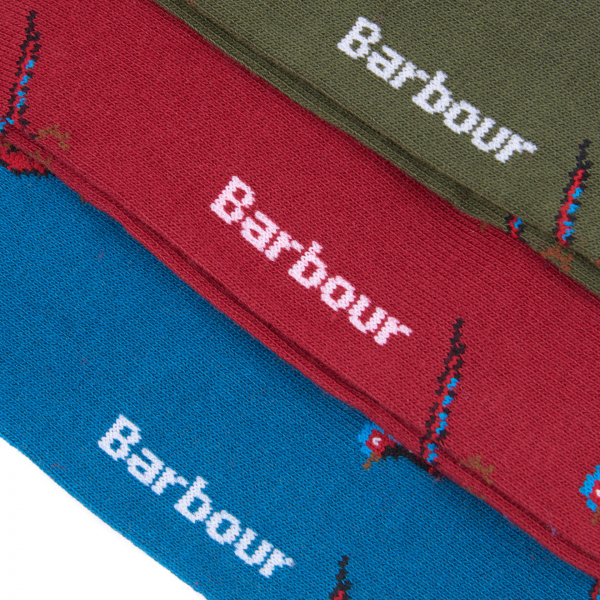 Barbour Pheasant Sock Gift Box Of Three Mixed