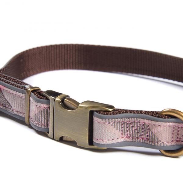 Barbour Reflective Dog Collar Taupe / Pink Tartan