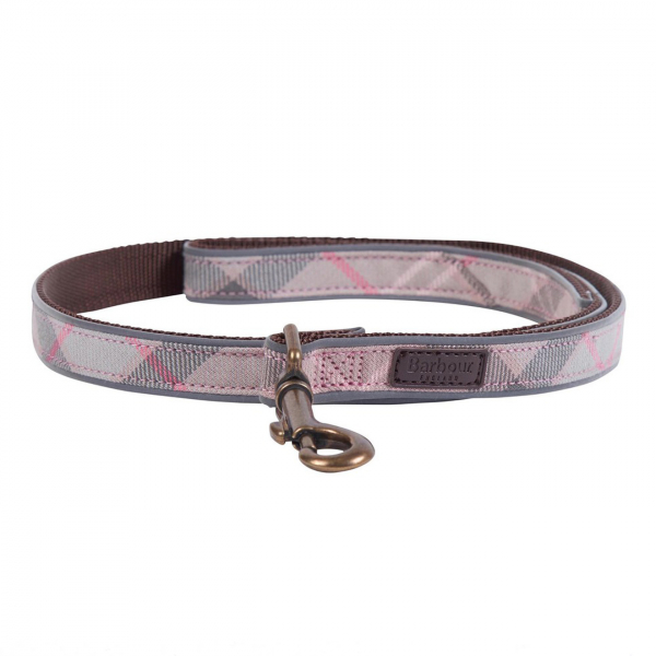 Barbour Reflective Dog Lead Taupe/Pink With Embossed Leather Barbour Label