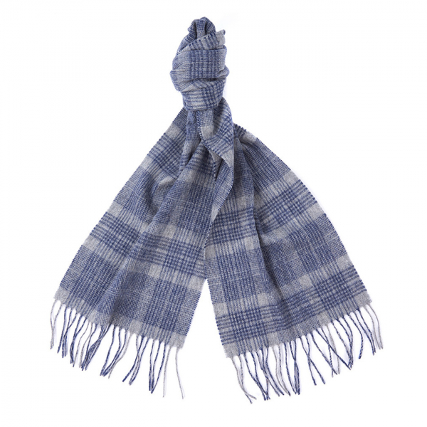 Barbour Two Tone Tartan Scarf Blue / Grey
