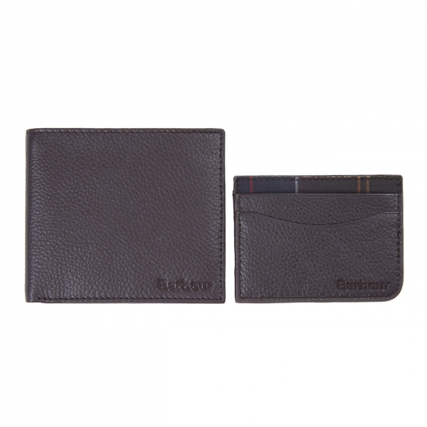 Barbour Wallet / Card Holder Gift Set Dark Brown