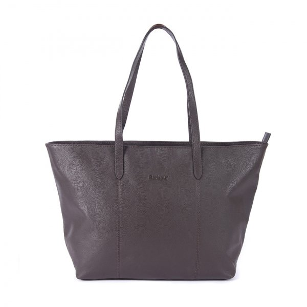 Barbour Witford Leather Tote Bag Dark Drown