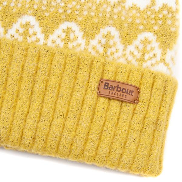 Barbour Womens Alpine Fairisle Pom Beanie Golden Spice