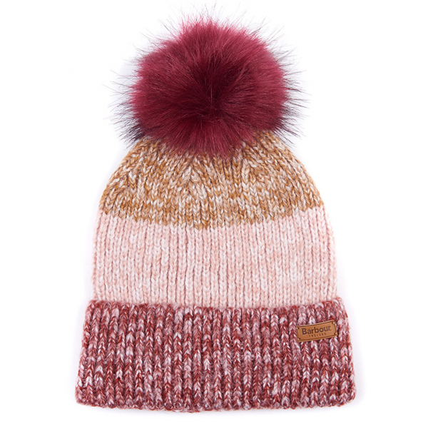 Barbour Womens Dipton Beanie Ginger/Burnt Red/Pine With Barbour Branding