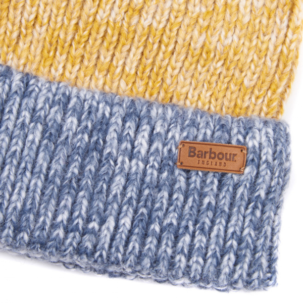 Barbour Womens Dipton Beanie Navy/Ecru/Ochre With Leather Barbour Branding