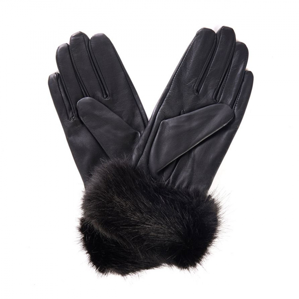 Barbour Womens Fur Trimmed Leather Gloves Black