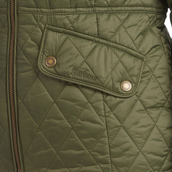 Barbour Womens Hawthorns Quilt Jacket Olive / Green Pink Check