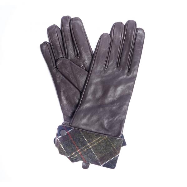 Barbour Womens Lady Jane Gloves Chocolate / Classic Tartan