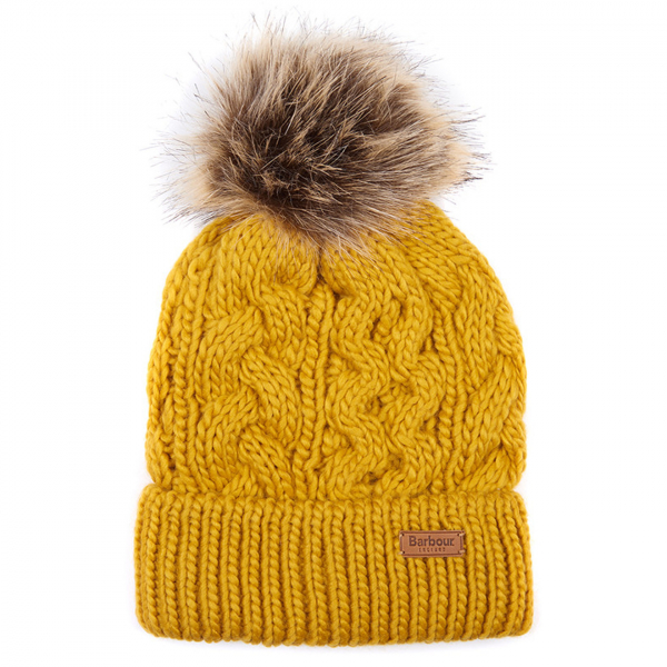 Barbour Womens Penshaw Beanie Ochre With Barbour Branding