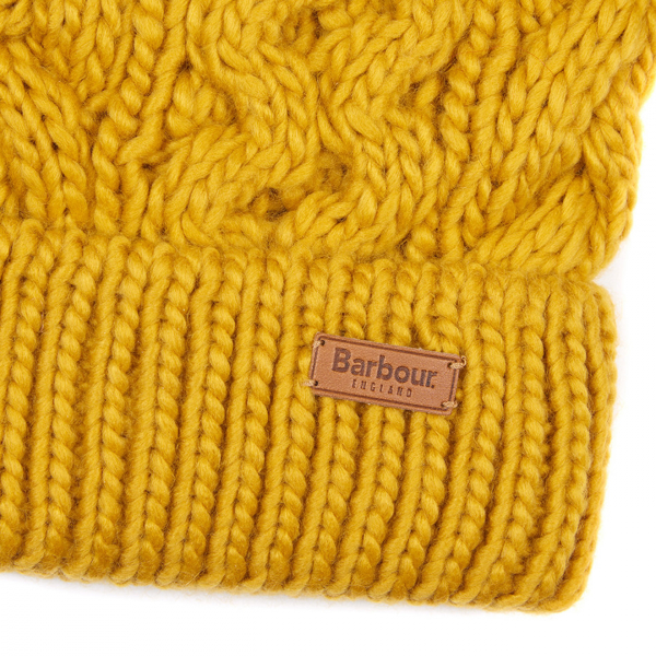Barbour Womens Penshaw Beanie Ochre With Leather Barbour Branding