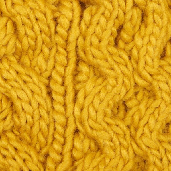 Barbour Womens Penshaw Beanie Ochre Chunky Cable Knit Pattern
