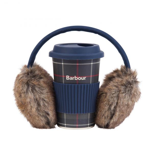 Barbour Womens Travel Mug & Earmuff Set Classic Tartan