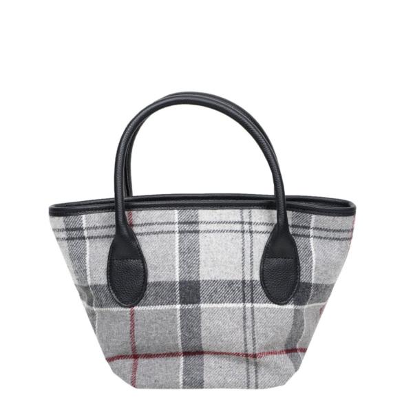 Barbour Tartan Mini Tote Bag Grey / Juniper 100% Wool