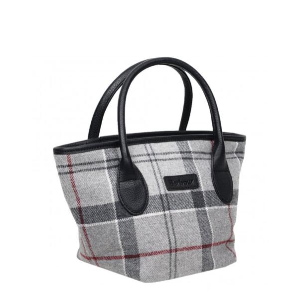 Barbour Tartan Mini Tote Bag Grey / Juniper Leather handles