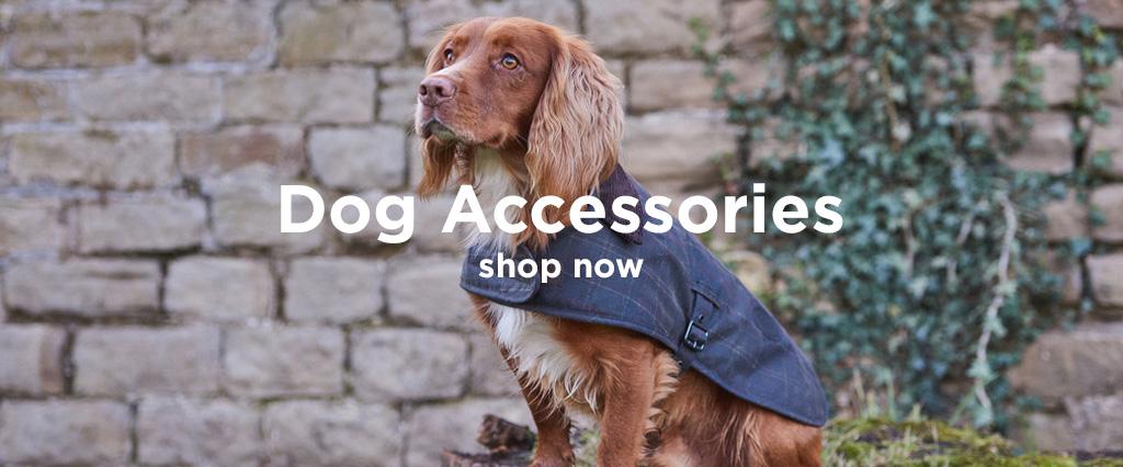 Spaniel Hunting Dog Wearing Tartan Navy Dog Coat.