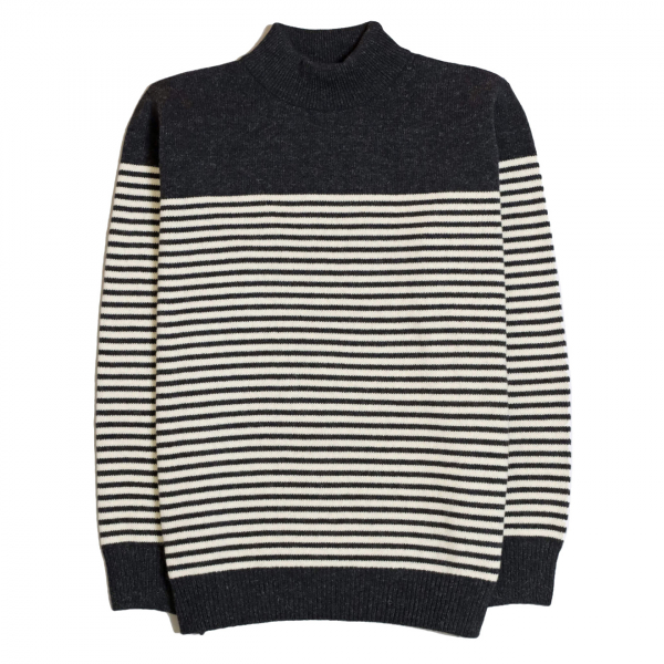 Far Afield Combin Stripe Fine Wool Knit Espresso / Ecru