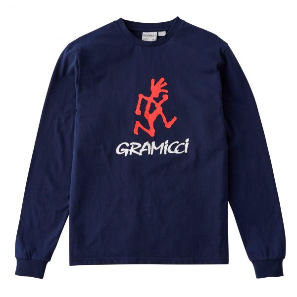 Gramicci Running Man L/S Print Back Tee Navy