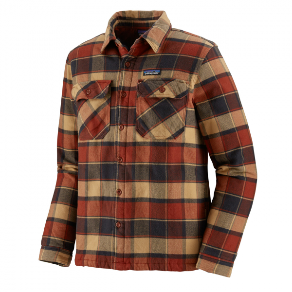 Patagonia Insulated Fjord Flannel Jacket Plots Burnished Red