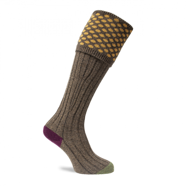 Pennine Viceroy Shooting Sock Mocha / Orange