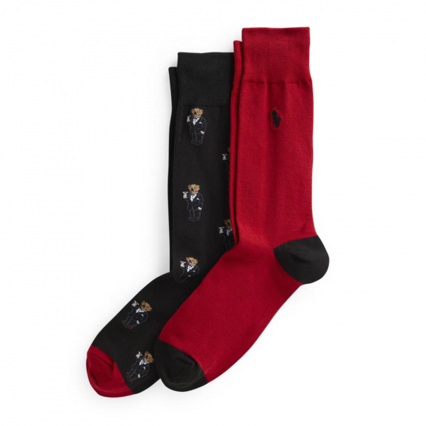 Polo Ralph Lauren Back Tux Martini Bear Crew 2-Pack Sock Black / Red