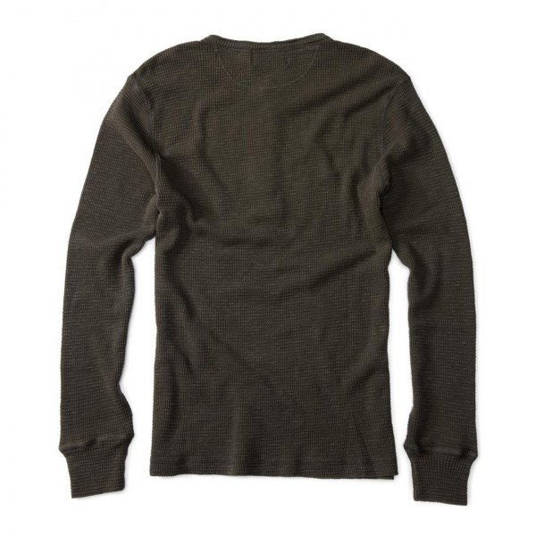 RRL by Ralph Lauren Henley Standard Fit L/S Textured Top Faded Black Canvas