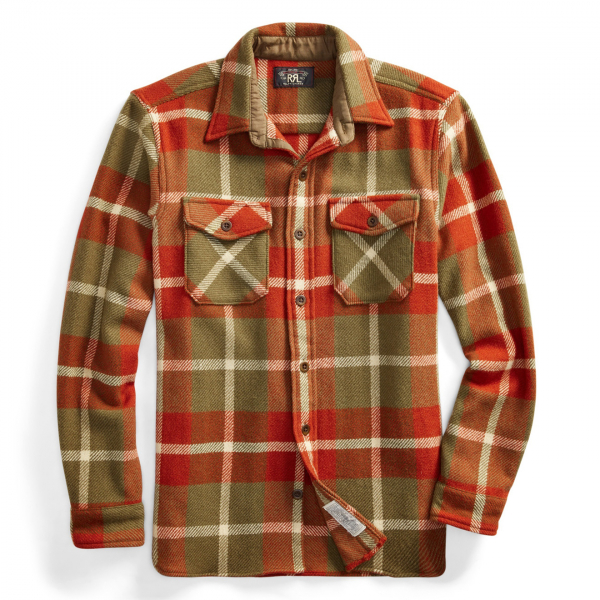 RRL by Ralph Lauren Melton Over Shirt Horse Blanket Plaid Twill Red / Tan