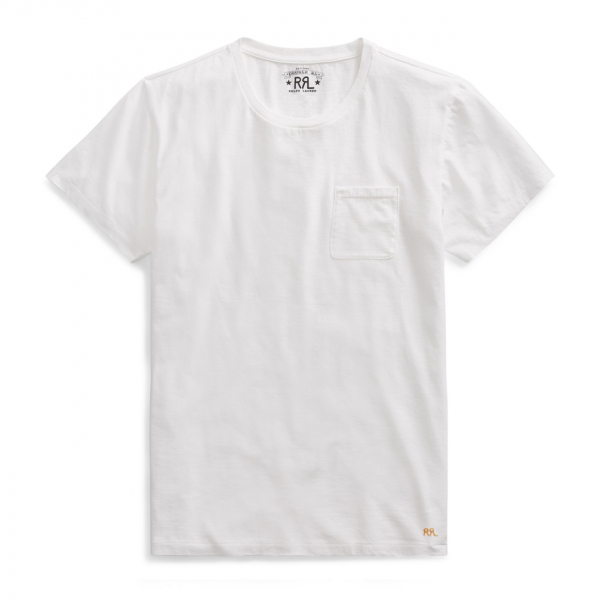 RRL by Ralph Lauren S/S Crew With Pocket Tee White