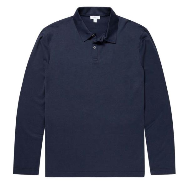 Sunspel Long Sleeve Polo Navy