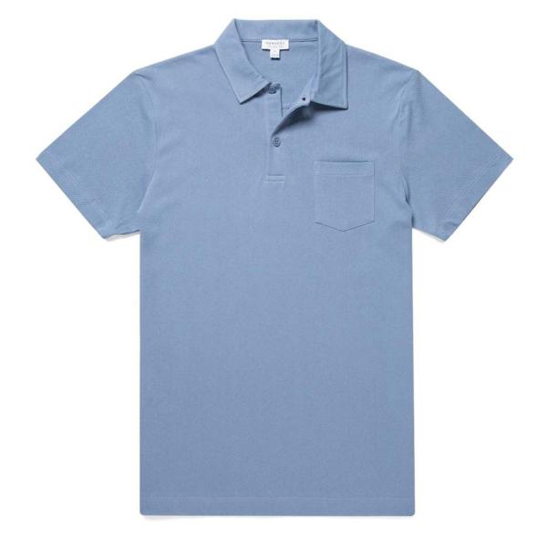 Sunspel Riviera Polo Shirt Blue Sky
