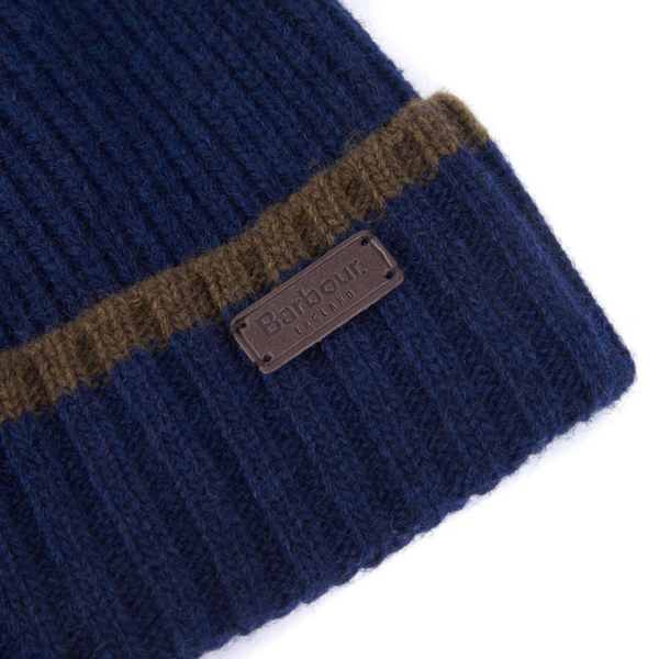 Barbour Cromer Beanie and Scarf Gift Set Navy